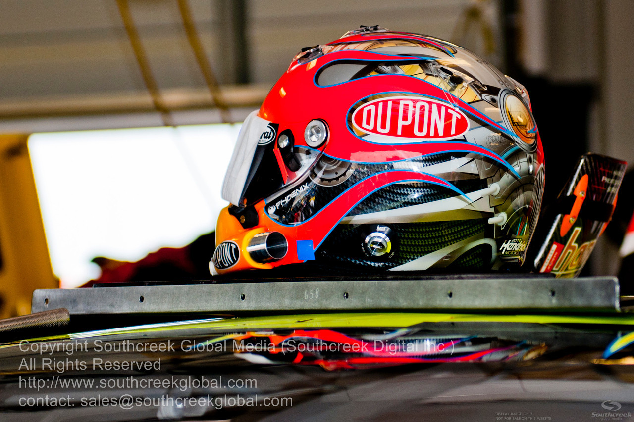 Hendrick Motorsports driver Jeff Gordon (24) helmet on the DuPont Chevrolet garage before the NASCAR Inaugural Quaker State 400 at the Kentucky Speedway Sparta,Kentucky.