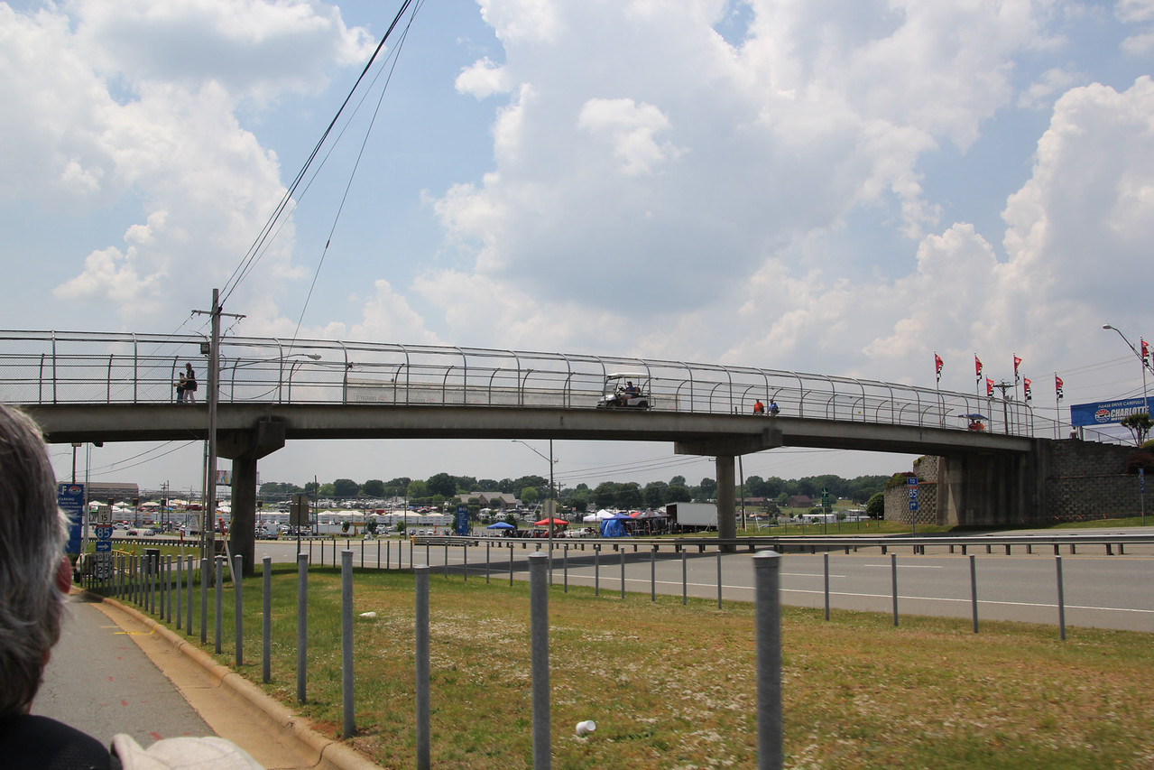 Bridge to cross from parking lots to the track.