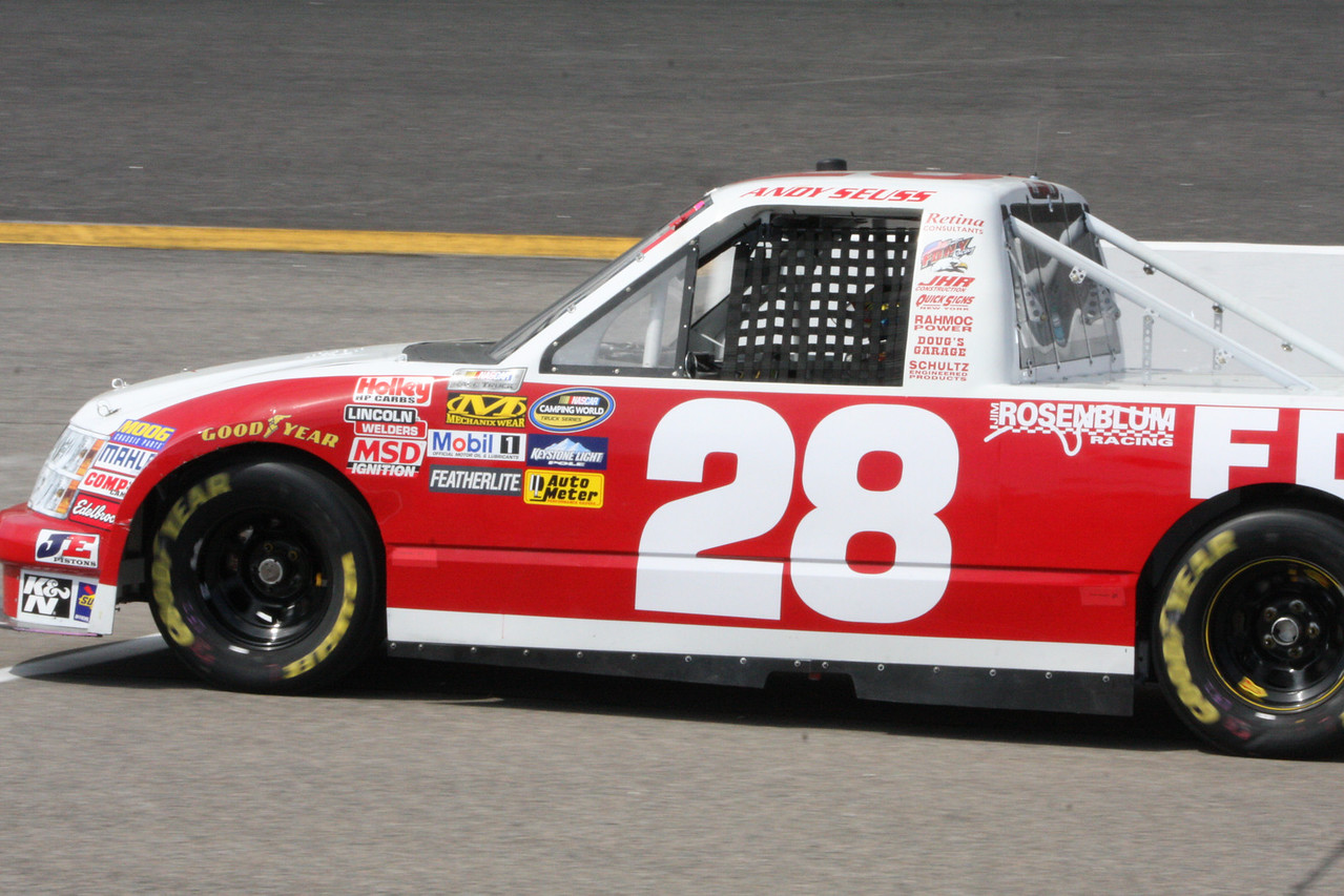 """#28 is Andy """"Dr"""" Seuss making a first run run the triucks. He has been running NASCAR modifieds for years"""