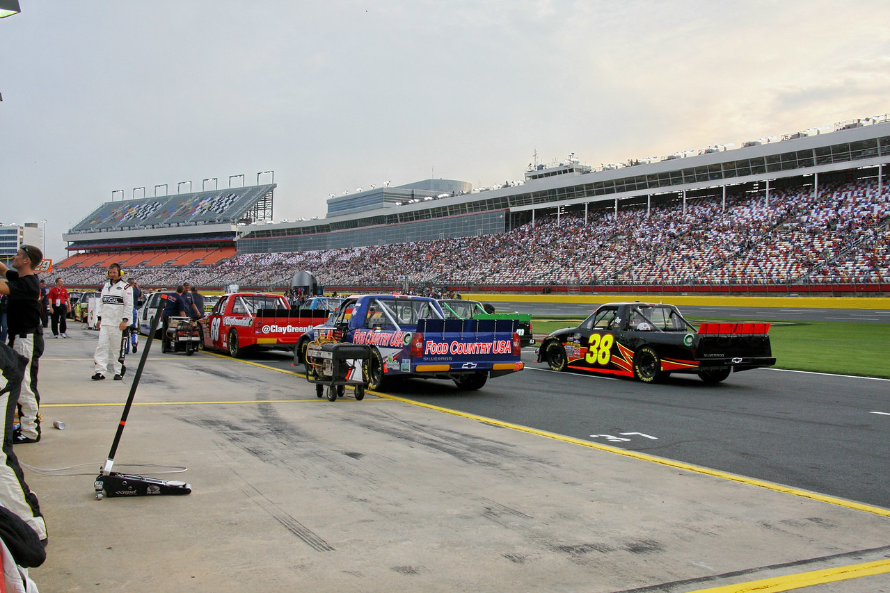 trucks line up for their race
