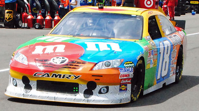 Kyle Busch driving in Pococo Garage