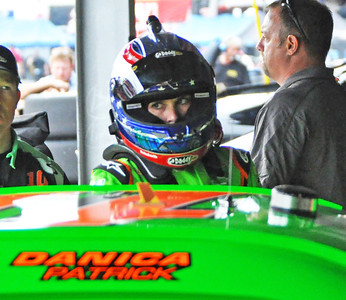 Danica climbing out of car