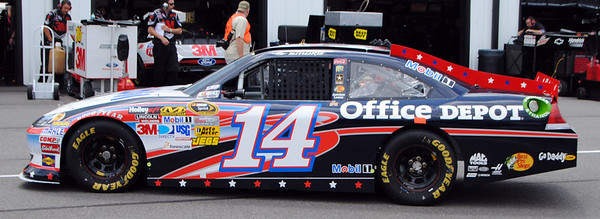 tony Stewart in the garage for practice