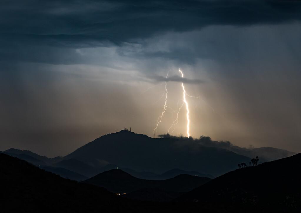 Lightning over Mt. Woodson