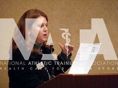 "NATA Federal Legislative Manager Amy Callendar speaks to the attendees at the ""How to Lobby"" session during Capitol Hill Day 2010. Photo by Jordan Bostic/NATA"