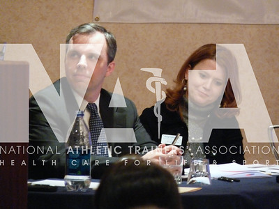 "Lobbyist Jim Twaddle and NATA Federal Legislative Manager Amy Callendar listen to the message during the ""How to Lobby"" session for 2010 Capitol Hill Day. Photo by Jordan Bostic/NATA"