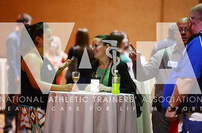 credit: Renée Fernandes Kaitlin Adams, left and Katherine Heckenbach, MA, ATC, attend the CEPAT reception Monday night.