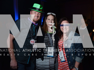 credit: Renée Fernandes Josh Euten, ATC, MAE; Erin Hahn, ATC, and Jennifer Newell, ATC have fun at the Opening Day Reception.