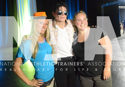 credit: Renée Fernandes Becca Chandler, left and Clarissa Alexander pose with Michael Jackson during the Opening Day Reception.