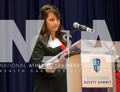 Renee Fernandes/for the NATA Michelle Vryhof Holt, MA, ATC, from Chisholm Trail High School, addresses the crowd at the Youth Sports Safety Summit in Irving, TX.