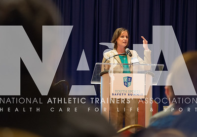 Renee Fernandes/for the NATA Jamie Woodall, ATC, from Bryan Independent School District, addresses the crowd at the Youth Sports Safety Summit in Irving, TX.