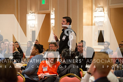 Renee Fernandes/for the NATA Corey XX, an Alliance Member, asks a question of the panel at the Youth Sports Safety Summit in Irving, TX.