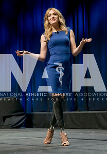 Renee Fernandes/NATA Amy Purdy, a double-amputee and bronze medalist in the 2014 Paralympics in snowboarding, talks to a full house Thursday during the J&J Keynote Presentation.