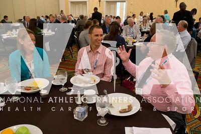 Renee Fernandes/NATA Nicole Molander, Barraza, left; Kyle Fisher and Dennis Fyke, ATC, LAT enjoy the NATAPAC breakfast.