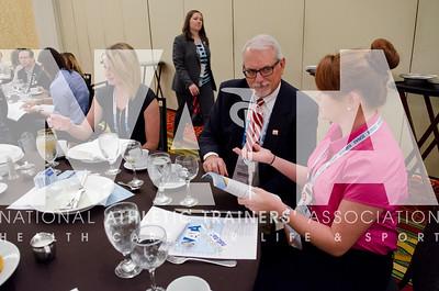 Renee Fernandes/NATA Ed Suderland, ATC, LAT talks with Alyssa Oldham during the NATAPAC breakfast.