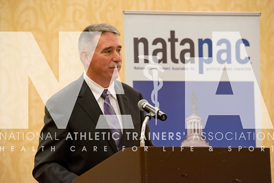 Renee Fernandes/NATA Charlie Thompson, MS, ATC talks to the crowd at the NATAPAC breakfast.