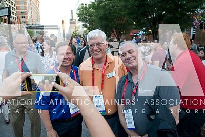 Renee Fernandes/NATA Kenneth Cieslak, DC, ATC, CSCS, left; Tim Sensor, ATC and Gary Shiffman, PT, ATC, CSCS have fun during the Welcome Reception Wednesday.