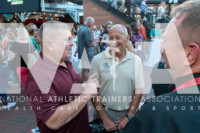Renee Fernandes/NATA William Von Leer, MAT, ATC, left; Donald Kessler, MED, ATC, and  Kyle Wilson, MED, ATC, LAT, has fun at the welcome reception.