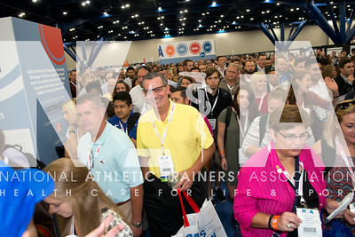 Renee Fernandes/NATA Dennis Thompon, ATC and hundreds of others stream into the AT Expo on the opening day.