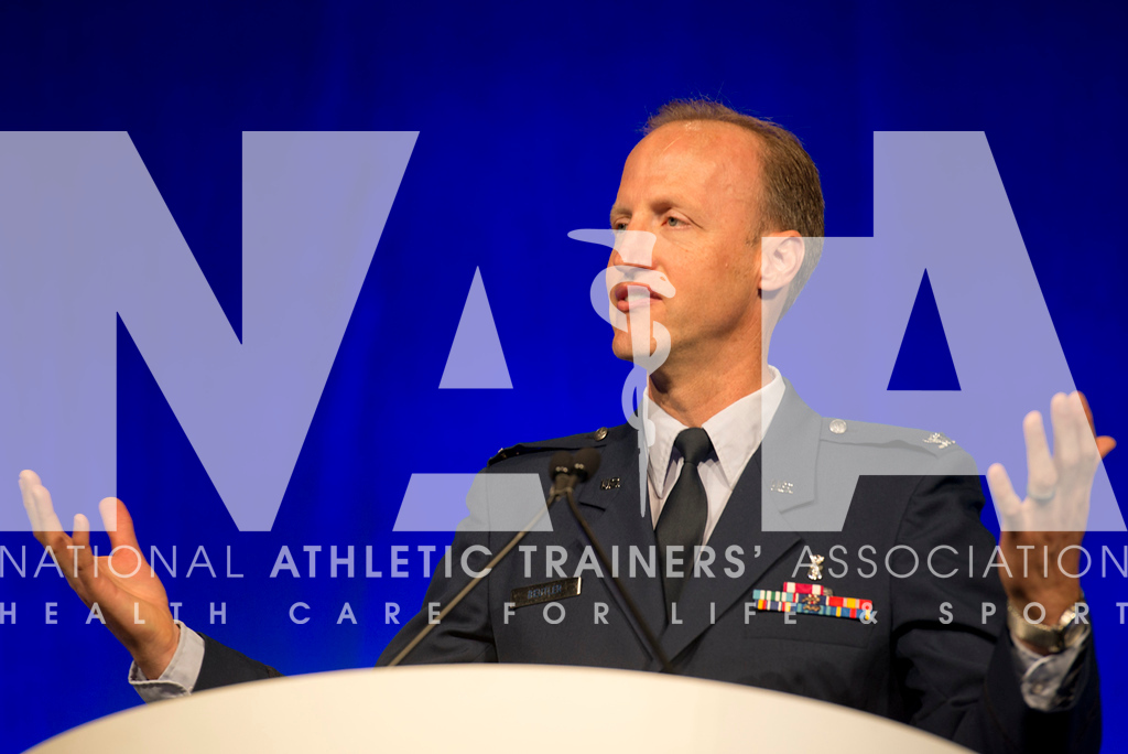 Renee Fernandes/NATA Col. Anthony Beutler, MD, USAF, MC, talks about ACL injury during the Feature Presentation on Wednesday.