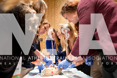 Renee Fernandes/NATA Kristin Farrell, MS, ATC, LMT points out details to students during the cadaver secton.