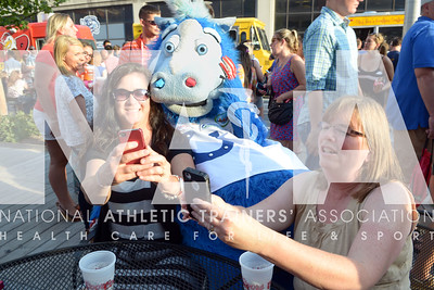 Renee Fernandes/NATA Deb Atmore, ATC, left and Joanne Gorant, AT, ATC, Phd, take a selfie with the mascot during the welcome reception.