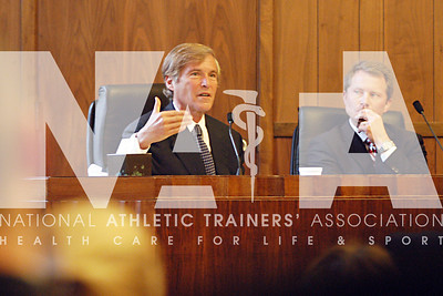 "Leigh Steinberg, a leading sports attorney and inspiration for the movie ""Jerry Maquire,"" talks to the crowd about his experiences with injured athletes during the youth sports safety summit in Sacramento. photo by Renee Fernandes"