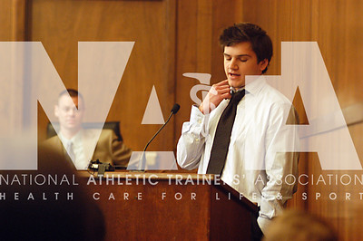 Tommy Mallon talks about his lacrosse accident that almost killed him during the youth sports safety summit in Sacramento. Mallon will never play sports again but credits his life to the ATC who was on the field. photo by Renee Fernandes