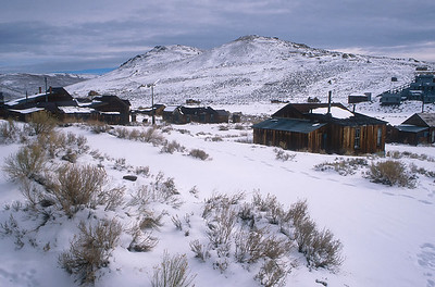 Winters in Bodie can be brutal.   At over 8300 feet in altitude ... well above the tree line... wind can sweep down the hills bringing bitter drops in temperature.  In 1999 Bodie registered the nation's lowest daily temperature 71 times.