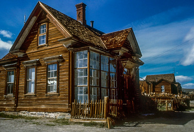 J.S. Cain lived in this house.  He was a major property owner in Bodie and build his fortune by transporting timber across Mono Lake by barge.  Timber was in short supply here but was needed to stoke the boilers that ran machinery, supported mine shafts and heated homes.