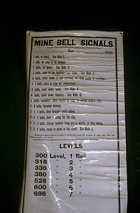 The mines had a variety of bell signals to help the miners communicate what was needed in the mine shafts.