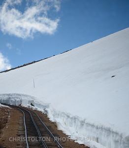 SNOWBANK ALONG COG RAILWAY - PIKES PEAK