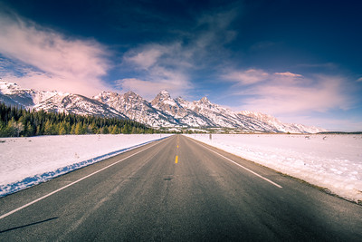 Open Highway Teton Mountains in background