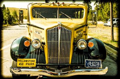 Historic Tour Bus Yellostone Park Wyoming