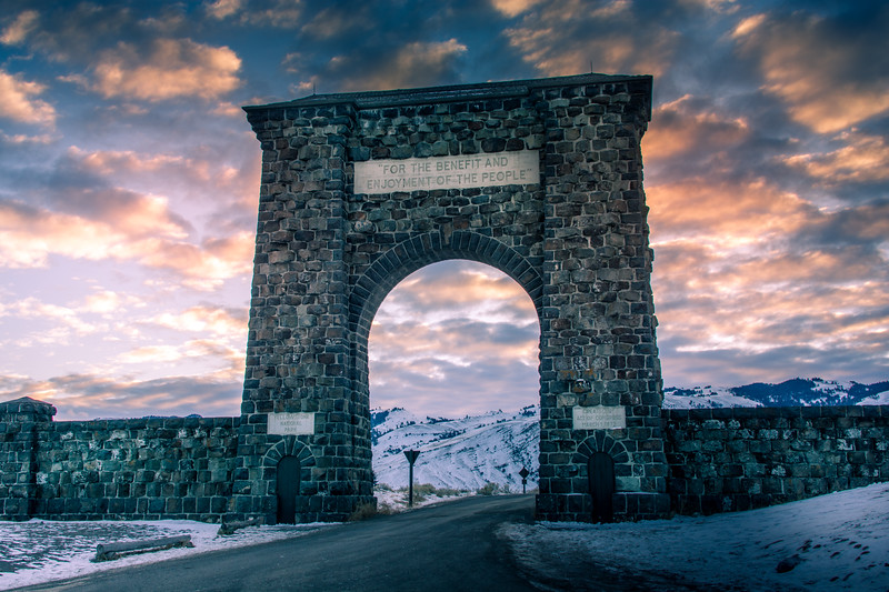 Main gate into Yellowstone National Park
