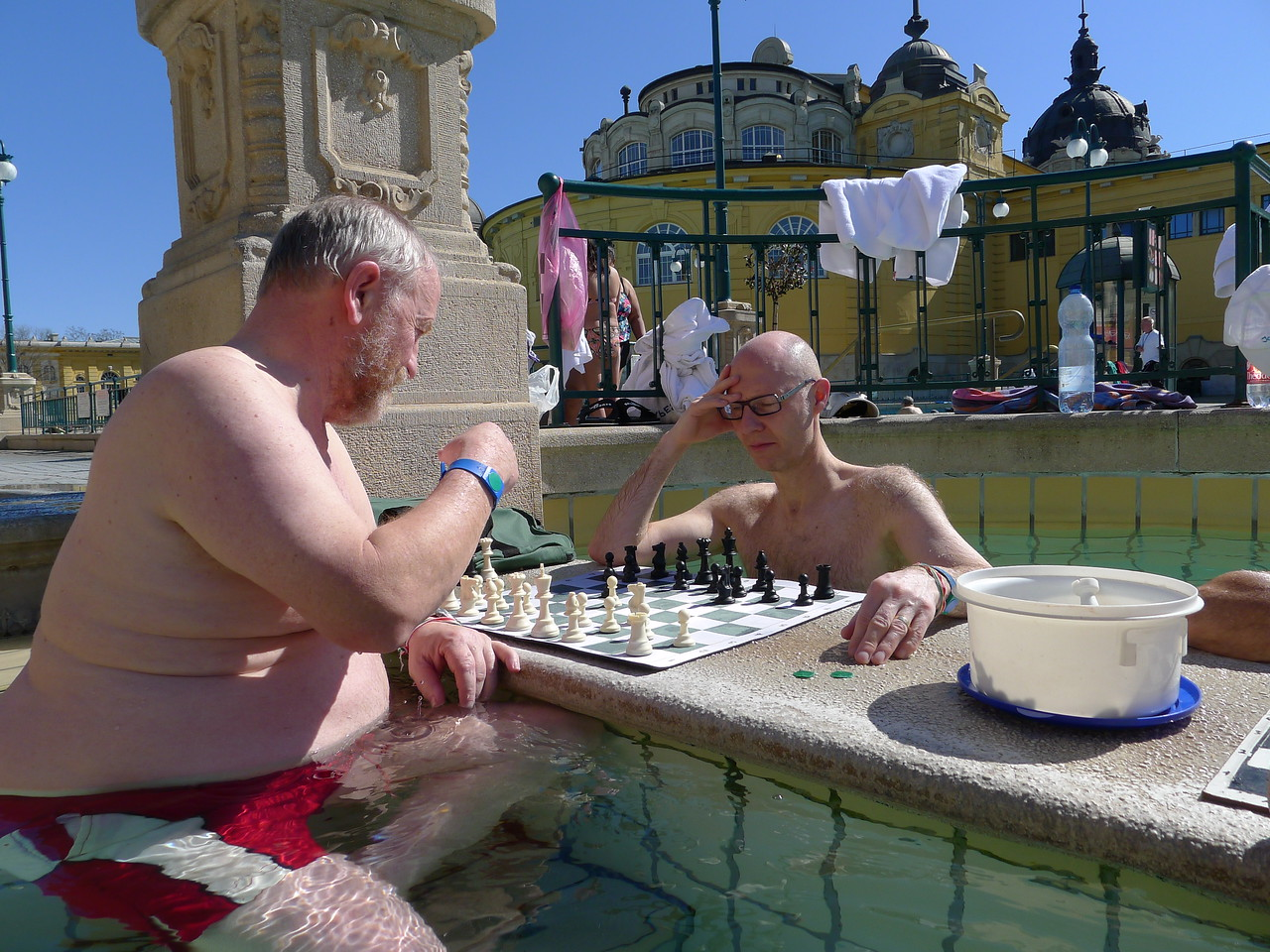 Danny and Dave  enjoying chess in the sun