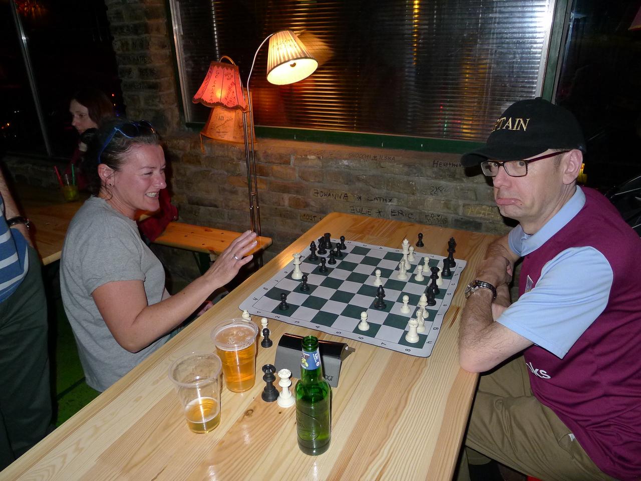 Helen thrashes Carl at chess