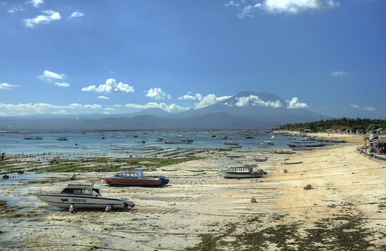 Seaweed farms in Lembongan Island, Bali.