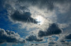 Dramatic blue sky with gray clouds