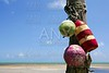 Florida Keys sea view with old fender colorful buoy aged still on wood pole