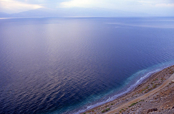 Looking east over the Dead Sea at sunrise.