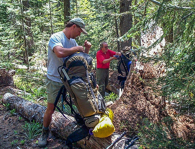 Gear check at first rest stop on our Goat Rocks Wilderness adventure