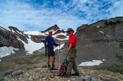 Gilbert Peak and Conrad glacier with Ron and Jason, Two Sticks walking