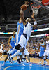 March 29th, 2010  <br /> Dallas Mavericks center Erick Dampier #25 gets his shot blocked by Denver Nuggets center Chris Andersen #11<br /> in a game between the Denver Nuggets and the Dallas Mavericks at the American Airlines Center in Dallas, Texas.<br /> Dallas wins 109-93