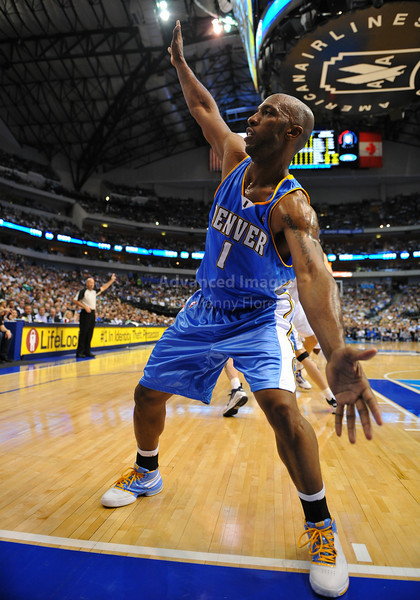 March 29th, 2010  <br /> Denver Nuggets guard Chauncey Billups #1 defends<br /> in a game between the Denver Nuggets and the Dallas Mavericks at the American Airlines Center in Dallas, Texas.<br /> Dallas wins 109-93