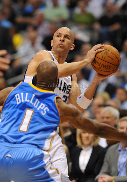 March 29th, 2010  <br /> Dallas Mavericks guard Jason Kidd #2 brings the ball forward<br /> in a game between the Denver Nuggets and the Dallas Mavericks at the American Airlines Center in Dallas, Texas.<br /> Dallas wins 109-93