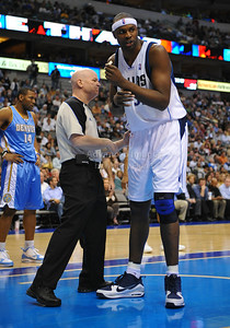 March 29th, 2010   Dallas Mavericks center Brendan Haywood #33 talks to Ref Joey Crawford about being held in a game between the Denver Nuggets and the Dallas Mavericks at the American Airlines Center in Dallas, Texas. Dallas wins 109-93