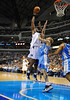 March 29th, 2010  <br /> Dallas Mavericks center Brendan Haywood #33 shoots over Denver Nuggets center Chris Andersen #11in a game between the Denver Nuggets and the Dallas Mavericks at the American Airlines Center in Dallas, Texas.<br /> Dallas wins 109-93