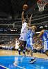March 29th, 2010  <br /> Dallas Mavericks center Brendan Haywood #33 shoots over Denver Nuggets center Chris Andersen #11in a game between the Denver Nuggets and the Dallas Mavericks at the American Airlines Center in Dallas, Texas.<br /> Dallas wins 109-93
