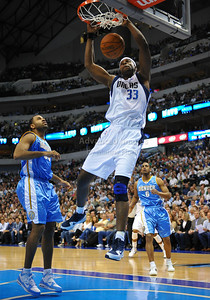March 29th, 2010   Dallas Mavericks center Brendan Haywood #33 gets a dunk in a game between the Denver Nuggets and the Dallas Mavericks at the American Airlines Center in Dallas, Texas. Dallas wins 109-93